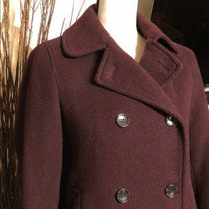 Burgundy Wool Pea Coat
